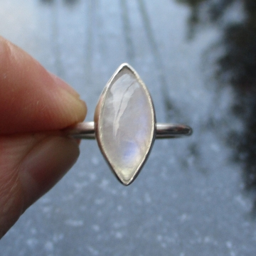 Handmade Moonstone Silver Ring Size 7 Crystal Stacking Ring for Women in 925 Sterling Silver