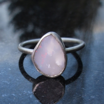 Raw Opal Sterling Silver Stacking Ring, Size 8 October Birthstone Jewelry Australian Opal