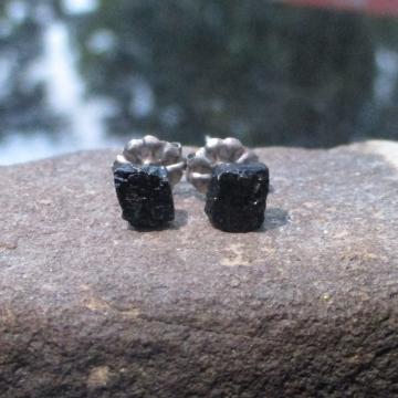 Raw Black Tourmaline Titanium Stud Earrings Black Crystal Gemstone Studs October Birthstone Jewelry