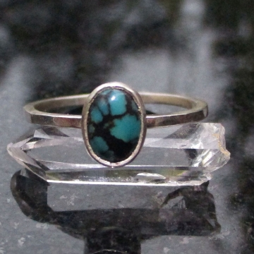 Turquoise Sterling Silver Stacking Ring in Size 8 December Birthstone Handmade Gift for Women