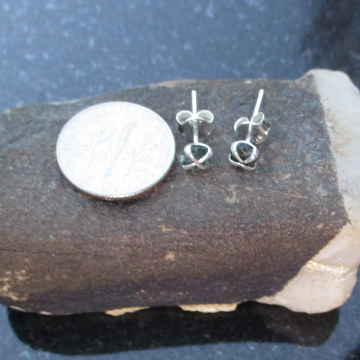 Raw Opal Stud Earrings in Sterling Silver Small 4mm Stone October Birthstone Minimalist Jewelry for Women