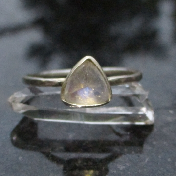 Triangle Moonstone Ring Size 7.5 Minimalist Sterling Silver Stacking Ring with Thin Hammered Band