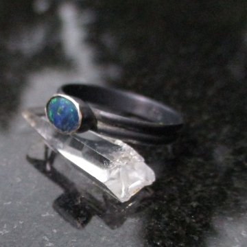 Raw Australian Opal Ring Size 7 925 Sterling Silver Crystal Stacking Ring October Birthstone Jewelry