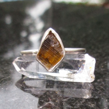 Clinozoisite Crystal Stacking Ring Set in 925 Sterling Silver Size 7 Orange Amber Gemstone