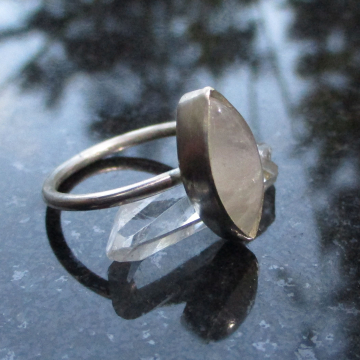 Handmade Raw Quartz Crystal Stacking Ring Set in Sterling Silver Size 7 With 3 Hammered Bands