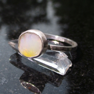 Handmade Raw Opal Silver Stacking Ring Size 7.5 Natural Ethiopian Welo Opal Gemstone October Birthstone