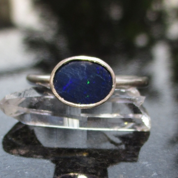Handmade Australian Blue Opal Silver Ring Size 7 October Birthstone Jewelry for Women