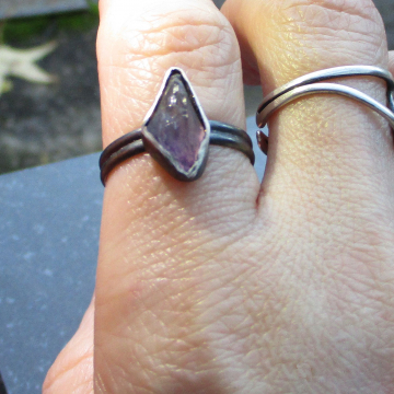 Druzy Grape Agate Sterling Silver Stacking Ring Size 6 Purple Gemstone