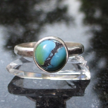 Handmade Turquoise Silver Ring US Size 7 Natural Tibetan Turquoise Gemstone December Birthstone