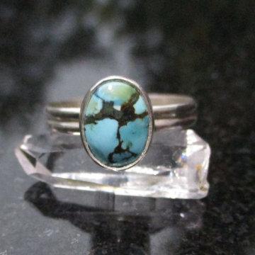 Handmade Turquoise Sterling Silver Stacking Ring in Size 7 December Birthstone Gift for Women