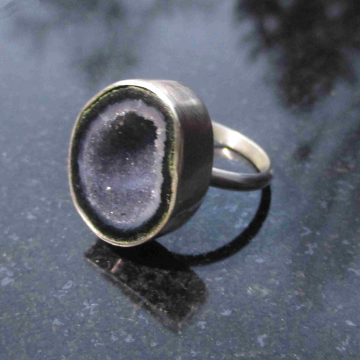 Raw Amethyst Ring Size 8 Set in Sterling Silver February Birthstone Crystal Jewelry