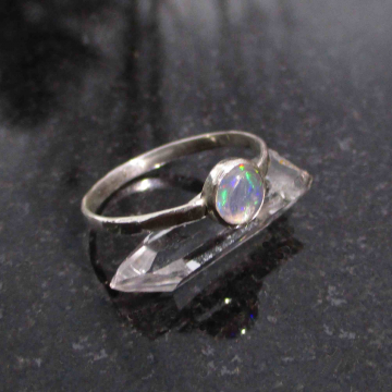 Raw Blue Apatite Ring Size 8 Handmade Bar Crystal Stacking Ring for Women in 925 Sterling Silver