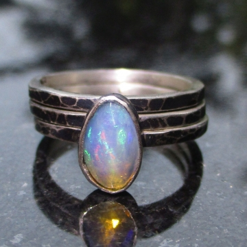 Handmade Opal Sterling Silver Stacking Ring Set Size 6 Hammered Silver October Birthstone Ethiopian Opal