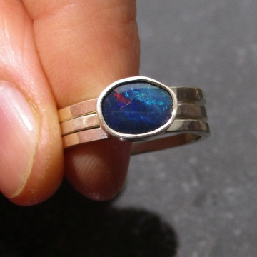 Handmade Blue Opal Stacking Ring Set Size 7 in Sterling Silver Hammered Silver Real Opal October Birthstone Jewelry