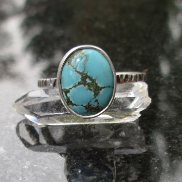 Turquoise Sterling Silver Stacking Ring Size 6 Natural Hubei Turquoise Blue Gemstone December Birthstone Jewelry