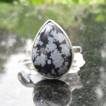 Snowflake Obsidian Statement Ring Size 8 Hammered 925 Sterling Silver Band with Black and White Gemstone