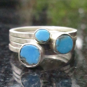 Turquoise Sterling Silver Stacking Ring Set in Size 7 Handmade with Kingman Arizona Turquoise