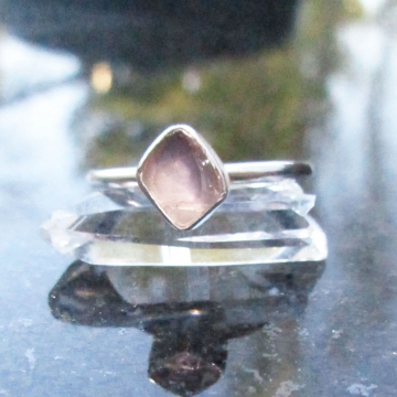 Raw Rose Quartz Sterling Silver Ring Size 6 Made with Natural Rough Pink Crystal Gemstone