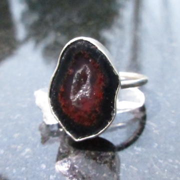 Druzy Geode Sterling Silver Statement Ring Size 8 Made with a small Tabasco Geode Agate and Quartz Gemstone