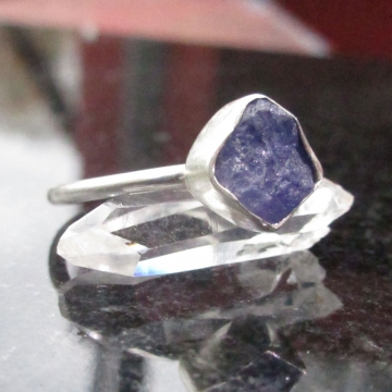 Raw Tanzanite Ring Size 9 in 925 Sterling Silver Purple Crystal Stacking Ring December Birthstone Jewelry